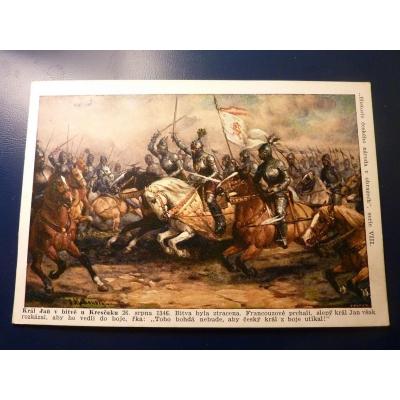 Historie českého národa v obrazech - Král Jan v bitvě u Kresčaku