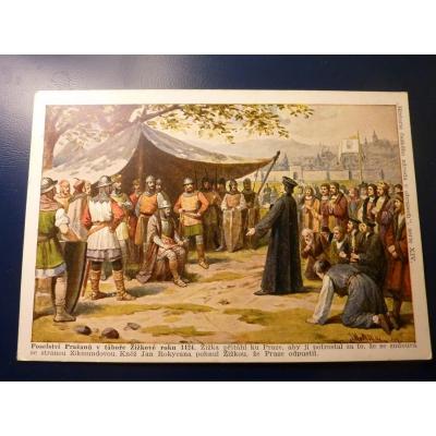 Historie českého národa v obrazech - Poselství Pražanů v táboře Žižkově roku 1424