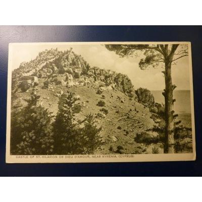 Kypr - pohlednice Castle of St. Hilarion od Dieu D´Amour, Near Kyrenia
