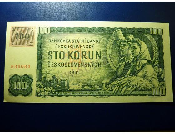 100 Korun 1961 kolek - nepřehnuto, nikdy neprošla oběhem (UNC)