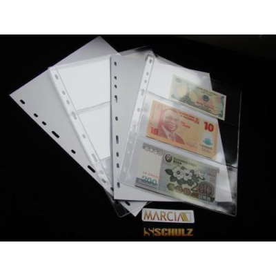 Náhradní list do alba na bankovky - 3 pole, 10 kusů v balení