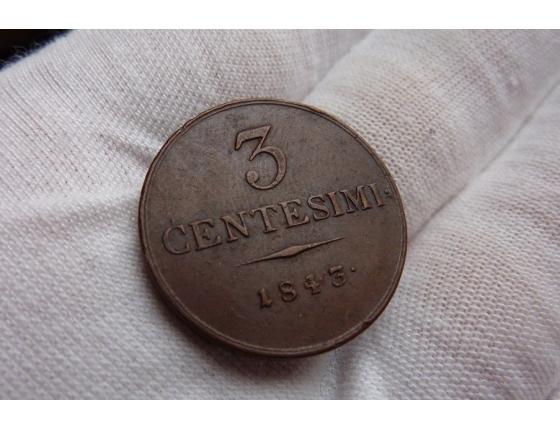 3 centesimi 1843 V