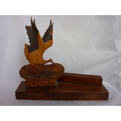 Beautifully hand-crafted wooden 3-dimensional Picture Photo Frame - Stork