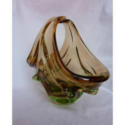 Bohemia Glass Basket - Czechoslovakia 60's