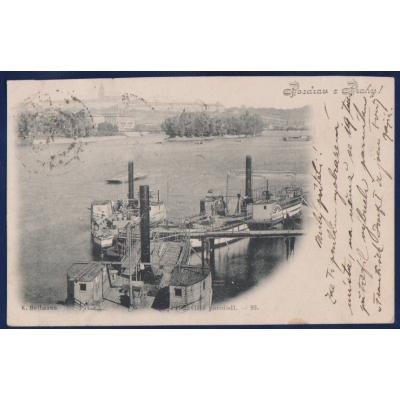 Grüße aus Prag - Dampfers Dock 1898 - der Explosion vor Ort Dampfer Franz Joseph I.
