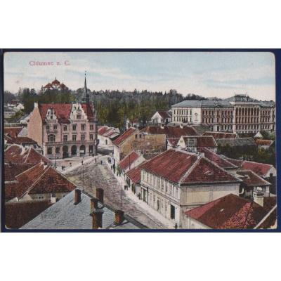 Pohlednice: Chlumec nad Cidlinou (náměstí, kostel)
