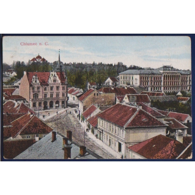 Postcard: Chlumec nad Cidlinou (square, church)