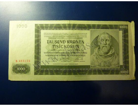 1000 korun 1942, I. vydání, série B
