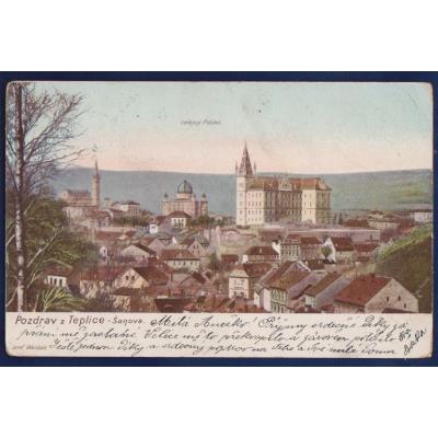 Postkarte: Grüße von Teplice - Šanov 1902