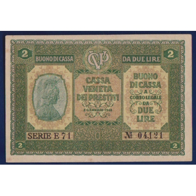 Banknote: Italy - 2 lire 1918 Cassa Veneta