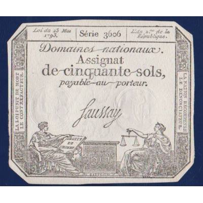 Francie - bankovka 50 Sols 1793