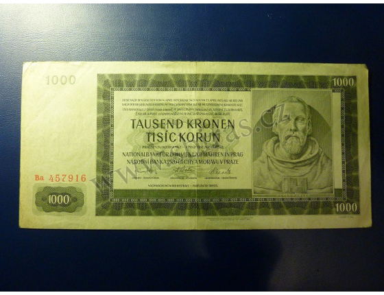 1000 korun 1942, II. vydání, série Ba