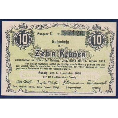 Bankovka: Česloslovensko - 10 korun Ústí nad Labem 1918