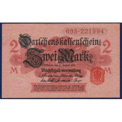 Německo - bankovka 2 Marky 1914 UNC