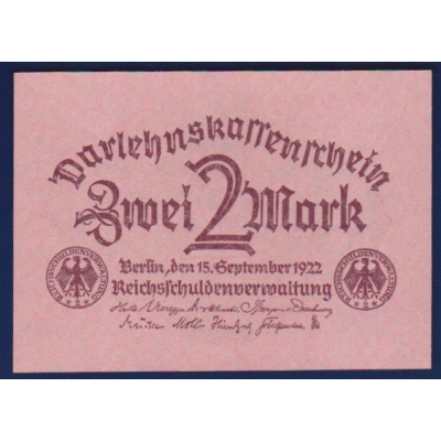 Germany - 2 Mark banknote 1922 UNC