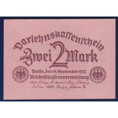 Německo - bankovka 2 Marky 1922 bez čísla série (UNC)