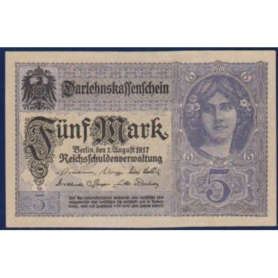 Německé císařství - bankovka 5 Marek 1917, série U (UNC)