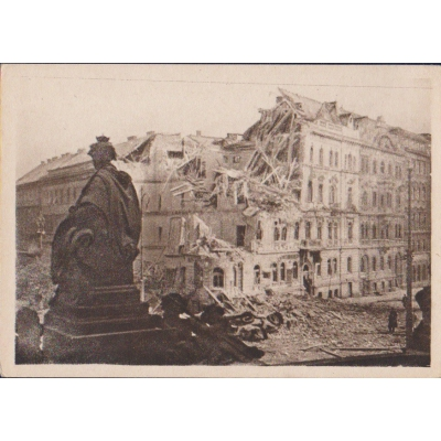 Czechoslovakia - postcard Traces of air terror in Wenceslas Square in 1945
