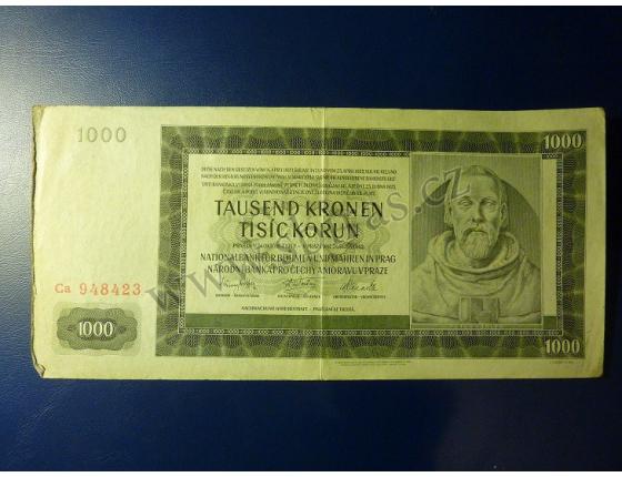 1000 korun 1942, II. vydání, série Ca