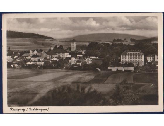 Československo - pohlednice Poběžovice, Ronšperk (Ronsperg), sudetská Župa (Sudetengau)