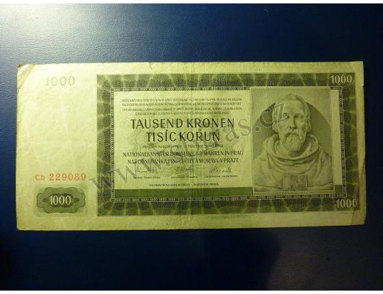 1000 korun 1942, II. vydání, série Cb