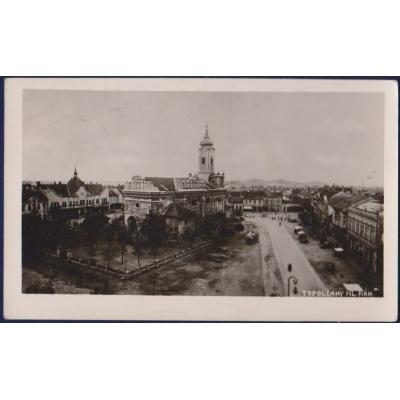 Tschechoslowakei - Postkarte Topolčany, Hauptplatz , 1946