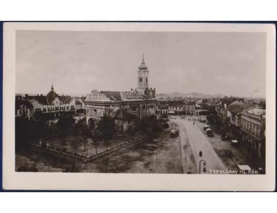 Československo - pohlednice Topolčany, Hlavní náměstí 1947