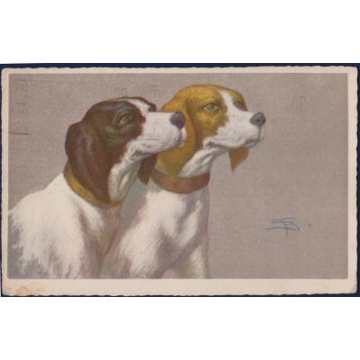 Italien - Postkarte Hunde 1928