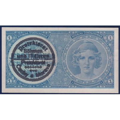 Böhmen und Mähren - 1 Krone 1945 nicht veröffentlicht, Handaufdruck, A058 Serie
