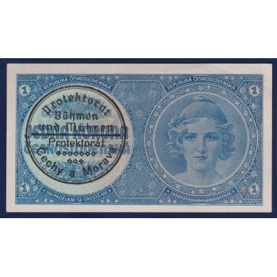 ČECHY a MORAVA - 1 koruna 1945 nevydaná, strojní přetisk, série A014