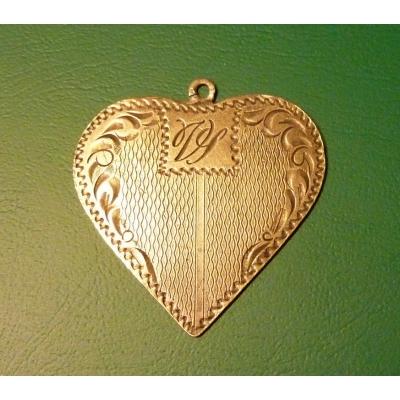 Historický stříbrný přívěšek - srdce s monogramem ART DECO, stříbro 900/1000