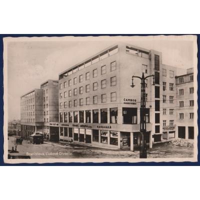 SLOWAKISCHES Staate - Postkarte Bratislava, Volkstheater , 1938, Stempel Reich Adler 1942