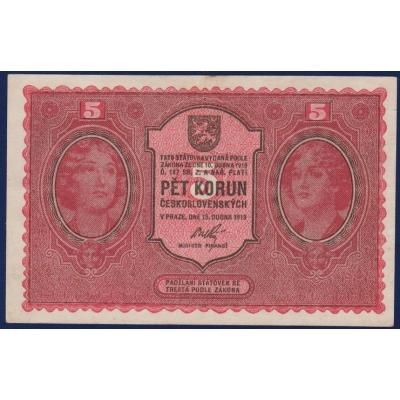 Československo - bankovka I. emise: 5 korun 1919