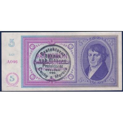 5 korun 1938 - ruční přetisk