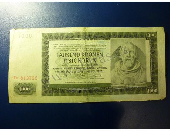 1000 korun 1942, II. vydání, série Fa