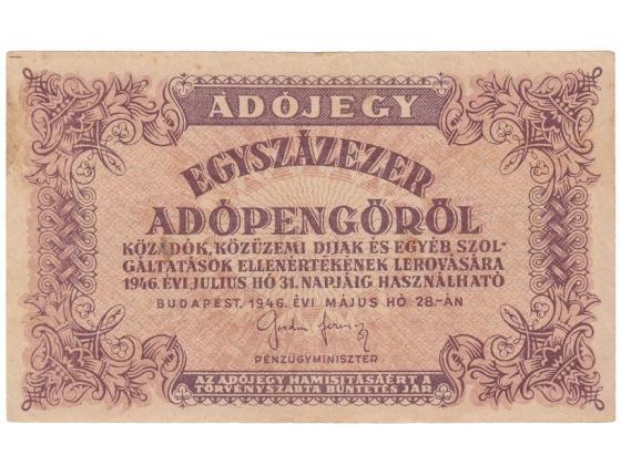 Maďarsko - bankovka 100.000 (egyszázezer) adópengöröl 1946