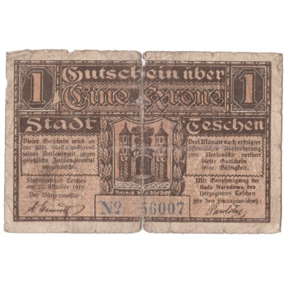 Poland - Cieszyn, banknote 1 crown 1919