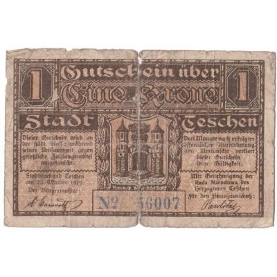 Polsko - Těšín, bankovka 1 koruna 1919