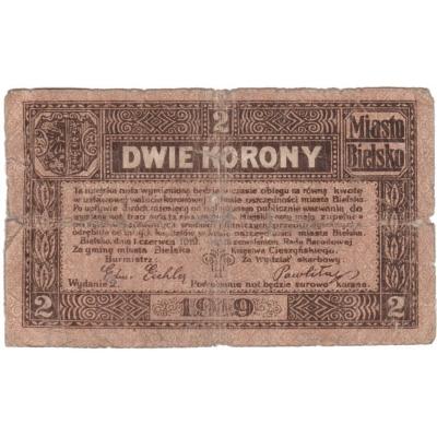 Polsko - Bílsko-Bělá, bankovka 2 koruny 1919