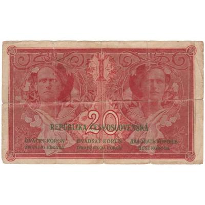 Tschechoslowakei - I. Ausgabe von Banknoten 20 Kronen 1919