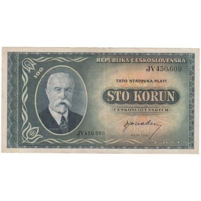 Československo - bankovka 100 korun 1945 T.G. Masaryk