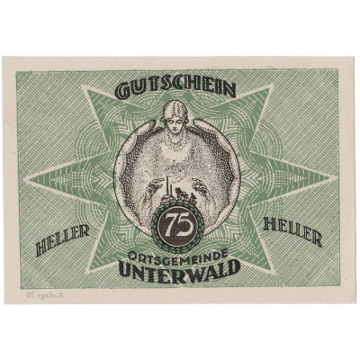 Rakousko - Gutschein 75 haléřů 1920 UNC