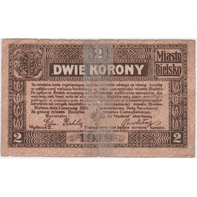 Československo/Polsko - Bílsko, bankovka 2 koruny 1919