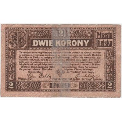 Polen - Bielsko-Biala, Banknote 2 Kronen 1919
