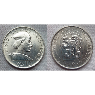 Tschechoslowakei - Münzen 10 Crown 1965 - Jan Hus
