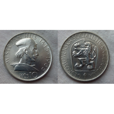 Československo - mince 10 korun 1965 - Jan Hus
