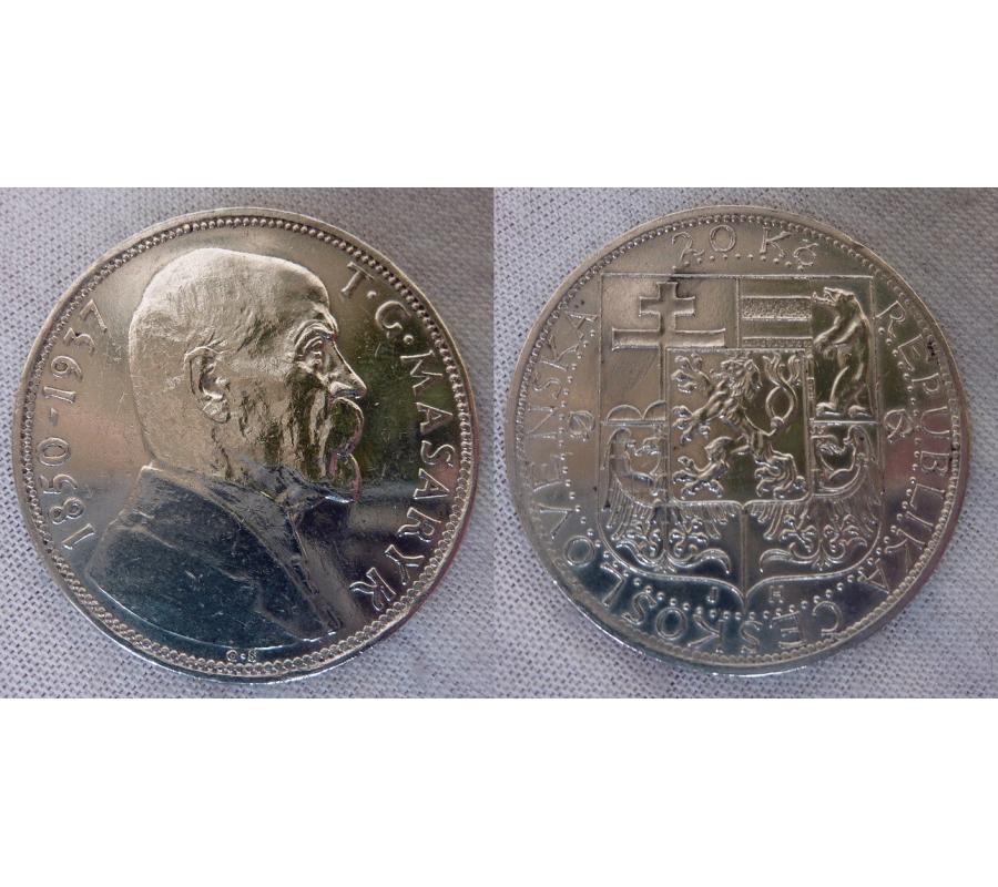 Tschechoslowakei - 20 Kronen 1937, Tod von T  G  Masaryk