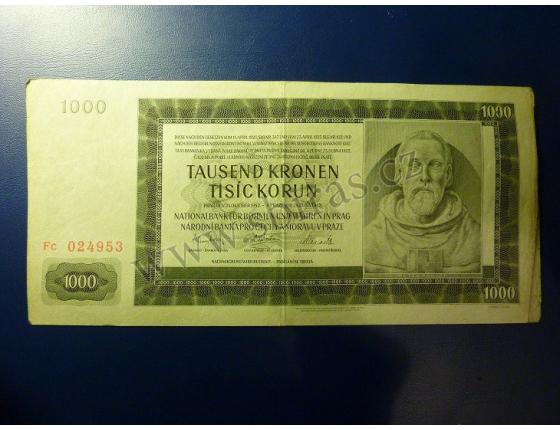 1000 korun 1942, II. vydání, série Fc