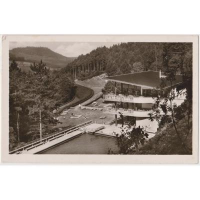 Československo - pohlednice Trenčianské Teplice, kúpaliště Zelená žaba 1949