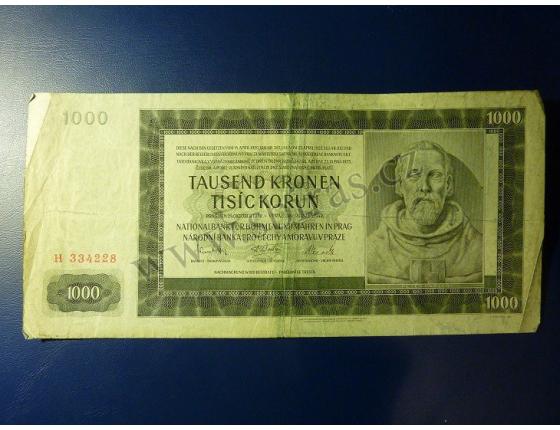 1000 korun 1942, I. vydání, série H